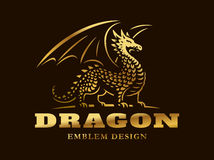 Golden dragon logo - vector illustration, emblem on dark background Royalty Free Stock Images