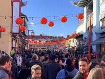 CHINATOWN DISTRICT, LOS ANGELES, CA / USA - FEBRUARY 9, 2019: Golden Dragon Parade for Lunar / Chinese New Year royalty free stock photography