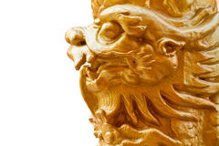 Golden dragon pillars isolated Royalty Free Stock Photo