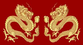 Golden Dragon on red background for Chinese New Year.Gold Chinese Dragon vector. Gold line art King Dragon tattoo stock illustration