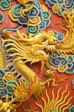 Golden dragon sculpture Royalty Free Stock Photography