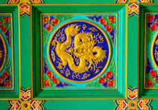 Golden dragon sculpture on ceiling at Chinese Temple, Bangkok, T Royalty Free Stock Photography