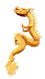 Golden dragon sculpture. Isolated on white stock photography