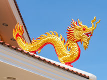 The golden dragon sculpture. Stock Image