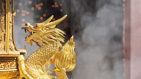Golden Dragon Sculpture in shrine Royalty Free Stock Images