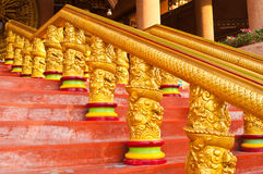 Golden dragon stairway Stock Image