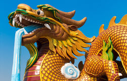 Golden Dragon Statue Stock Image