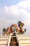Golden dragon statue. Golden dragon statue with the blue sky in Nakornsawan province, Thailand Royalty Free Stock Photography