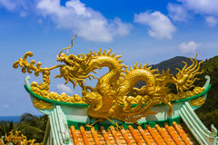 Golden dragon statue Stock Photo