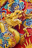 Golden dragon statue in chinese temple in Chonburi Royalty Free Stock Image