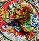 Dragon statue on the colorful wall Royalty Free Stock Photography