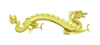 Golden dragon statue isolated Royalty Free Stock Photos