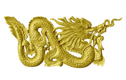 Golden dragon statue isolated white background. Stock Photography