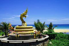 Golden dragon statue on Karon Beach Stock Photography