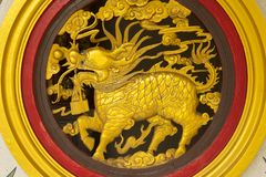 Golden dragon statue in temple Royalty Free Stock Photo