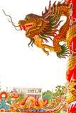 Golden dragon statue on pillar Royalty Free Stock Photos