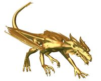 Golden Dragon Statue - prowling. Digital render of a statue of a prowling gold dragon Stock Photo