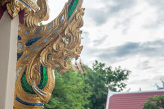 Golden dragon statue. In the temple Royalty Free Stock Photography