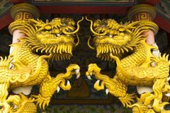 Golden dragon statue in temple Royalty Free Stock Image