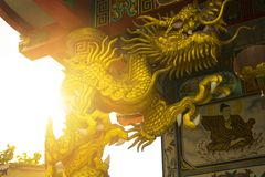 Golden dragon statue in temple Stock Image