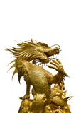 Golden dragon statue on white background Stock Photo