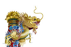 Golden dragon statue on white background Stock Photography