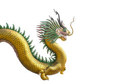 Golden dragon statue on white background Stock Photos