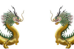 Golden dragon statue on white background. Stock Images