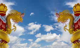 Golden Dragon Statues Stock Image
