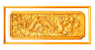 Golden dragon stucco decoration elements isolated with frame Stock Images