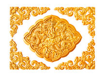 Golden dragon stucco decoration elements isolated Royalty Free Stock Photo