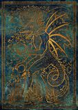 Golden Dragon symbol on blue texture background. Monster with demon wings, waves, fire balls and treasures against big eye. Fantasy engraved illustration. Zodiac Stock Photos