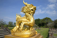 Golden dragon at the terrace, Forbidden Purple city. Hue Stock Image