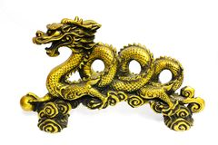 Golden dragon on white Royalty Free Stock Images