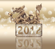 Golden dragon, year 2012. Golden dragon for year 2012 Stock Photo