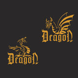 Golden dragons on a black background. Illustration of two Golden dragons on a black background. Styling in Gothic style Stock Photography