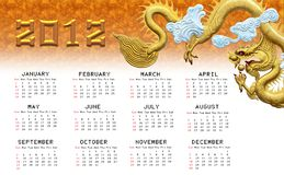 Golden dragons calendar 2012 Royalty Free Stock Image
