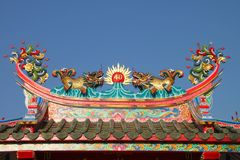 Golden dragons on roof of shrine Royalty Free Stock Photos