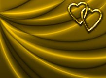 Golden Drapery with Hearts. Golden Drapery Background with golden metallic hearts stock illustration