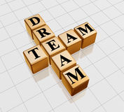 Golden dream team. 3d golden boxes with text - dream team, crossword Royalty Free Stock Photos