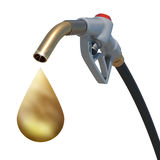 Golden drop weeping from the fuel nozzle Royalty Free Stock Photos