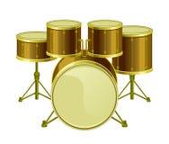 Golden drums set Royalty Free Stock Image