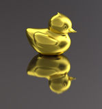 Golden metal duck isolated Royalty Free Stock Images