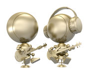 Golden Duet of musicians plays guitar Royalty Free Stock Photography