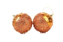 Golden dull christmas balls and beads. Stock Photo