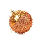 Golden dull christmas balls and beads. Royalty Free Stock Photos