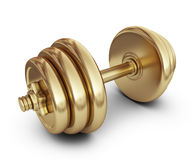Golden dumbbell. 3D Icon  on white Stock Photo
