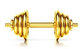Golden dumbbell on white background Stock Image