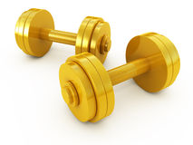 Golden dumbbells Royalty Free Stock Photo