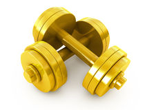 Golden dumbbells weight Royalty Free Stock Photo